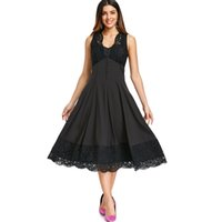 verschönerte kleider großhandel-Ärmelloses Kleid mit Knopfverzierung und Spitzeneinsatz