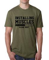 impresión del músculo t shirts al por mayor-INSTALANDO MÚSCULOS Imprimir T Shirt Hombres Moda Hip-hop Tops Hombre Divertido Fitness Top Camiseta de algodón Ropa