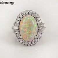 Wholesale 925 opal ring resale online - choucong Vintage Big Opal Ring silver A Zircon cz Party Wedding Band Rings For Women men Fashion Jewelry