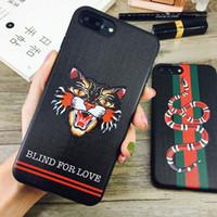 ingrosso guscio di animali indietro-Moda 3D ricamato Cat Head Soft Cover Cover Case Animal Snake Stripe Telefono Shell Tide Marca per iPhone XS Max XR X 6s 7 8 plus