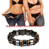 mãos artrite venda por atacado-Heath Care pulseira magnética perda de peso saúde pulseiras mão Cadeia Black Stone Bracelet Arthritis Pain Relief Magnetic Therapy MMA2069-6