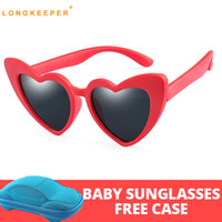 Wholesale silicone sunglasses resale online - Brand Silicone Safety Polarized Children s Sunglasses Girl s Baby Red Pink LOVE Heart Shapes Eyeglasses UV Gafas With Case