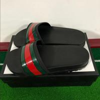 Wholesale rubber for flip flops resale online - New brand slippers for men Luxury Designer green red stripe printed beach flip flops slipper designer shoes size