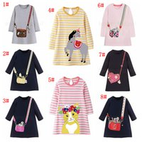 Wholesale cat print dress long sleeves for sale – plus size Girl cartoon printed Dress Party A line T shirt unicorn cat animals Long Sleeve Princess Dress for Girls home wear clothes FFA2764