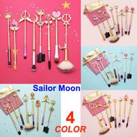 Wholesale sailor moon set resale online - 8pcs Sailor Moon Brushes Cute Makeup brush set Sakura Cosmetic Brushes With Pink Bag Eye shadow High Gloss Brush kit