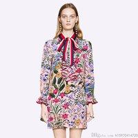 lüks yuvarlar toptan satış-2019 Yeni Moda Kadın Giyim Yüksek Kalite Lüks Elbise Baskı Yay Uzun Kollu Ahşap Kulak Elbiseler Boyut S-2XL