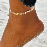pulsera de cadena de tobillo al por mayor-Mujeres Simple Punk Gold Silver Chain Flat Snake Tobillera Tobillera Pulsera Descalzo Sandalia Beach Foot Jewelry BB383