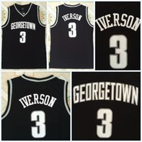 ingrosso pullover di basket usa-College NCAA Mens Allen 3 IVERSON Maglie Georgetown Hoyas USA Nero 100% cuciture College Basket Maglie S-3XL Spedizione veloce