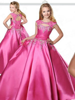 Wholesale for teens resale online - Fuchsia Girls Pageant Dresses Crew Neck Floor Length Ball Gown Flower Girls Dress with Lace Up Back Beaded Formal Dress For Teens BC2425
