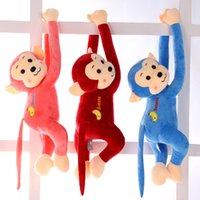 monos de peluche mini al por mayor-45 cm 5 colores de brazo largo mono de peluche de peluche de juguete mini muñecas de mono para el regalo del bebé muñeca colorida plátano