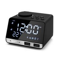 ingrosso altoparlante di allarme bluetooth-Bluetooth 4.2 Radio Alarm Clock Speaker con 2 porte USB LED Digital Alarm Clock Home Decration Snooze Table Clock