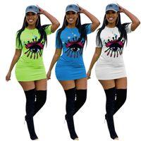 Wholesale polka dot dress ribbon online - Women Embroidery Big Eye Summer Short Sleeve Dresses Sequins Short Tight Skirt Bodycon Skirt Night Club Sports Party Dress News C416
