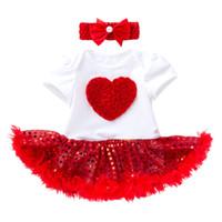 bebek kafa bandı kırmızı toptan satış-Perakende kızlar butik kıyafetler yaz 2 adet elbise set bebek kırmızı pul çiçek romper elbise + kafa eşofman takımları setleri çocuklar giysi tasarımcısı