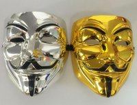 Wholesale vendetta silver mask for sale - Group buy Silver Gold Party Masks V for Vendetta Mask Full Face Party Cosplay Costume Mask for Men