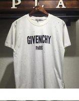 marcas de ropa para hombre de mayor calidad al por mayor-Top Paris GIV Diseñador de camisetas Marca Agujero de alta calidad camisetas para hombre mujer Verano mangas cortas impresión Tee algodón ropa