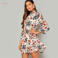 Wholesale turtle cuff for sale - Group buy Bohemian Multicolor Frilled Neck And Elegant Print Floral Smock Flared Dress Women Spring Cuff Chiffon Mini Dresses