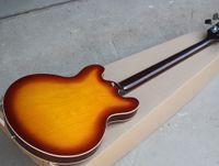 ingrosso acero di fiamma della chitarra cava-Basso elettrico semi-cavo per chitarra con tastiera in palissandro, 4 corde, 22 tasti, impiallacciatura di acero fiammato, personalizzabile.