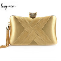 Wholesale party clutches for women resale online - New Mini Women Handbag Solid Color Woven Lady Evening Clutch Bag For Party Wedding Purse with Metal Tassel Chain Shoulder Bag
