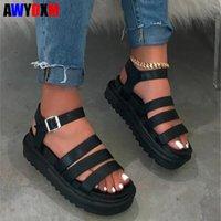 Wholesale man sandals for sale - Group buy Hot sale women s shoes summer ladies flat platform Jelly shoes woman buckle beach casual Thick bottom sandals women S217