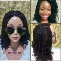 Wholesale kinky curly braiding hair medium brown resale online - Stock density full Curly Crochet Hair short Kinky Twist wig Braiding Hair Synthetic braid lace front wig For black women
