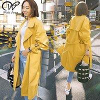 gelbe gräben großhandel-Elegante koreanische Trenchcoat Frühling Herbst Trenchcoat Frauen Kleidung 2019 lange Mäntel Streetwear weibliche dünne gelbe Regenmäntel WJ185