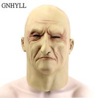 borracha de látex venda por atacado-GNHYLL Látex Realista Máscara de Homem Velho Masculino Disfarce Halloween Fancy Dress Cabeça de Borracha Adulto Partido Máscaras Masquerade Cosplay Adereços