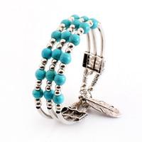 Wholesale beaded chain pendant resale online - Boho Vintage Turquoises Bracelets for Women Leaf Pendant Charm Blue Howlite Bead Strand Bracelet Bangle Fashion Jewelry