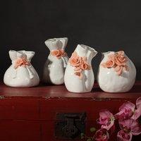 vasos de mesa chinesa venda por atacado-Novo Chinês vaso de flor de cerâmica home decor artesanato sala de decorações de mesa de porcelana vasos de presente de casamento decoração da estatueta