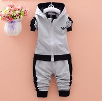 Wholesale boys girls sport suit resale online - Toddler Baby Boys Girls Brand Suits Children Sports Jacket Pants sets Clothes Set Kids Tracksuits