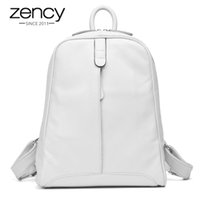 Wholesale business backpack notebook for sale - Group buy Zency Genuine Leather Fashion Women Backpack Casual Travel Bag Preppy Style Girl s Schoolbag Notebook Laptop Knapsack Y19051502