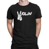 keman müziği enstrümanı toptan satış-Mens tamam violin barış burcu kemancı enstrüman keman yenilik müzik t-shirt