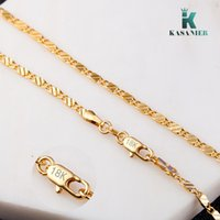 Wholesale block stamps for sale - Group buy KASANIER free delivery gold and silver MM width Clavicular necklace women fashion Jewelry Water wave block stamp Figaro necklace
