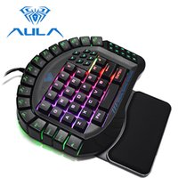 Wholesale keypad keyboard switches resale online - AULA One handed Gaming Keyboard Wired Single Hand RGB LED Backlight Keypad Blue Switch Wrist Rest Mechanical Mini Keyboard
