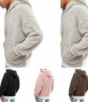 kürk kürklü süveter toptan satış-Cep C92707 ile Mens Sherpa Triko Kış Sıcak Kürk Polar Giyim Sweatshirt Yeni Tasarımcı Ceket Kazak Kapşonlu Sonbahar Kabarık Dış Giyim