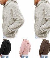 jersey de jersey esponjoso al por mayor-Mens Sherpa suéter caliente del invierno de la piel del paño grueso y suave Ropa Sudaderas Nueva chaqueta del diseñador jersey sudadera otoño Outwear mullido con Pocket C92707