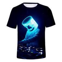 ingrosso dj t-Estate 2019 Musica DJ Marshmello magliette Bambini Sorriso Faccia T-shirt Tollator Ragazzo Camicie maniche corte Streetwear uomo 3d maglietta