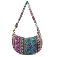 Wholesale japan style bag for sale - Women canvas Floral portable handbag large shoulder hippie bag with colorful types outdoor travel storage Ethnic vintage styles bags LJJQ121