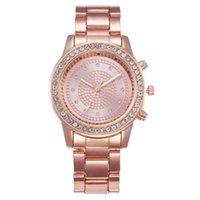 dişli saatler toptan satış-Klasik Retro Lüks Üst Marka Kadın İzle Paslanmaz Çelik Rhinestone Bilezik Bayan Saatler Gül Altın Gümüş Saat Dişli Dial