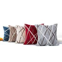 capas de almofada de padrão vermelho venda por atacado-Chenille Capa de Almofada Radial Stripe Padrão Fronha Spandex Cinza Azul Vermelho Branco Pillowslip Venda Quente 5 5xa L1