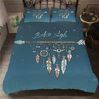 Wholesale feather quilts resale online - Bedding Set Bohemian Dream Catcher Quilt Feather Pillow Case Large