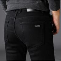 черные джинсы мужские классические оптовых-Классические джинсы Jean Homme Pantalones Hombre Men Mannen Мягкий черный байкер Мужские джинсовые комбинезоны Masculino Q190516