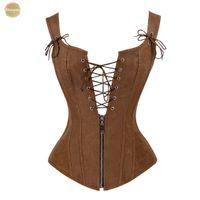 xs шнурует корсет оптовых-Искусственная кожа корсет Sexy Brown Zipper стимпанк Up Lace Overbust Назад Vest корсета корсетные Espartilhos для женщин