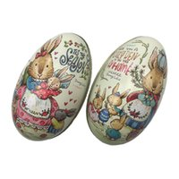 Wholesale tin easter eggs resale online - 4 Pieces Easter Bunny Dress Printing Alloy Metal Trinket Tin Easter Eggs Shaped Candy Box Tinplate Case Party