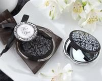 ingrosso elegante specchio bianco nero-Damasco bianco e nero elegante specchio compatto conveniente per 100PCS Wedding doni nuziali
