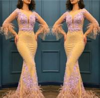 plumas de vestidos amarillos al por mayor-Sirena de color amarillo claro Vestidos de baile Apliques de encaje Mangas largas Vestidos de noche de plumas Arabia Saudita Mujeres Ropa formal por encargo
