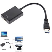 kabelfernsehnadapter für laptop groihandel-High Speed USB 3.0 auf HDMI Adapter Metall Shell Stecker auf Buchse HDMI Video Kabel Konverter für Laptop HDTV TV schwarz T6190613