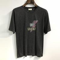 camisas de estilo superior venda por atacado-Homens camiseta simples carta impressa santo t shirt s lp manga curta Mens Tags Street Style Tops Camiseta
