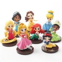 juguetes de primera al por mayor-Decoración Q Posket princesa Figura Juguetes Mulan Alice princesa figura de acción de PVC Modelo Colección Juguetes primero de la torta de la torta