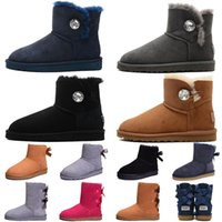 botas de invierno para niños negro al por mayor-2019 botón bling bow mujer australia snow botas de invierno negro gris castaño azul marino piel tobillo rodilla botas Bailey señoras niños talla 36-41