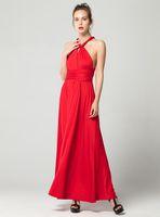 resmi uzun gelinlik elbiseleri toptan satış-Seksi Uzun Elbise Nedime Örgün Çok Yönlü Wrap Cabrio Infinity Maxi Elbise Kırmızı Parti Bandaj Vestidos FICUSRONG Oymak